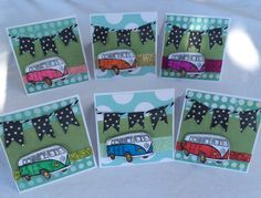Cuteness overload!! The VW bus is my absolute favorite and so these lunchbox notes are a must from my Etsy shop https://www.etsy.com/listing/468071985/set-of-6-3x-3-mini-handmade-cards-mini Lunchbox notes Mini cards Backpack notes Lunch notes Mini card set Back to school notes Back to school ideas Volkswagen bus VW bus