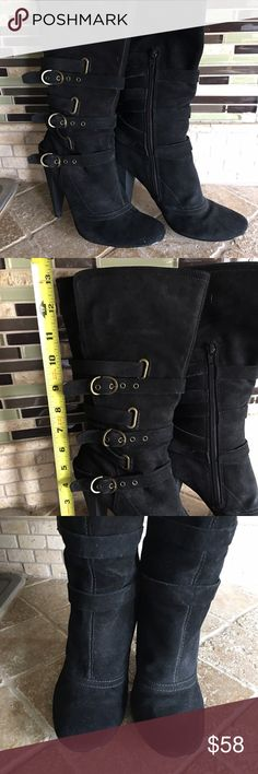 "Nine West Suede Boots Gently Used black suede fashion boots.  Heel is 4"" and from the heel to the top of the boot it's 9"".  Light wear on the right boot shown on pic 4.  This is from driving.  Overall good condition! Nine West Shoes Heeled Boots"