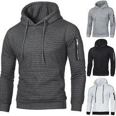 Lutratocro Men Pocket Outdoor Slim Pullover Casual Hoodie Sweatshirts