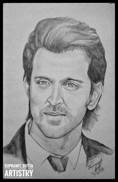 The Greek God of Bollywood: Hrithik Roshan Pencil Sketch Portrait, Pencil Sketch Drawing, Portrait Sketches, Art Drawings Sketches, Disney Drawings, Pencil Drawings, Pencil Art, Hrithik Roshan Hairstyle, Celebrity Drawings