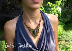 Macrame Necklace with Golden Obsidian crimped and brass beads, Handmade macrame necklace, Obsidian jewelry, olivine color necklace