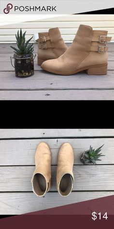4d236fee30d Tan Suede Booties Tan suede booties with two buckles around the back heel.  Forever 21