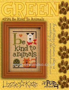 Buy Be Kind to Animals Flip It Chart with Button Online at www.sewandso.co.uk