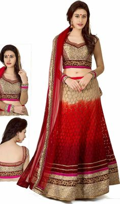 Make The Heads Turn After You Costume Up In This Kind Of A Attractive Beige & Red Brasso Jacquard Lehnga Choli. This Attire Is Nicely Designed With Lace, Resham, Stones Work. #GorgeousDivineBeigeAndRedChaniyaCholi