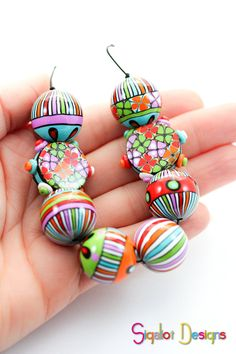 Polymer clay beads - Crazy Carnival- Handmade Polymer clay beads mix of shapes (8)