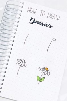 How cute are is this super simple daisy doodle tutorial! Check out the rest of the list for more flower doodle ideas! flowers doodle 17 Amazing Step By Step Flower Doodles For Bujo Addicts - Crazy Laura Bullet Journal Banner, Bullet Journal Aesthetic, Bullet Journal Notebook, Bullet Journal Ideas Pages, Bullet Journal Inspiration, Bullet Journals, Easy Doodle Art, How To Draw Doodle, How To Doodles