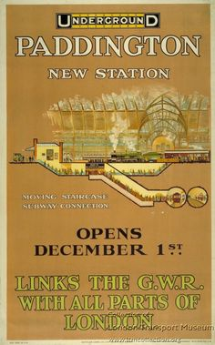 Paddington ~ New Underground Station by Charles Sharland, 1913 London Map, London Places, Old London, London Pride, Transport Map, London Transport Museum, Transport Posters, Public Transport, London Underground Stations