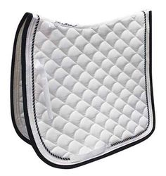 SHEDROW GARDENIA QUILTED PAD    Poly-cotton exterior with air flow waffle underside for maximum breathability. White with Black/Silver. Dressage.  www.greenhawk.com