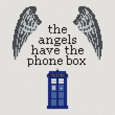 Doctor Who 'The Angels Have The Phone Box' quote cross stitch sampler PDF pattern. £2.30, via Etsy.