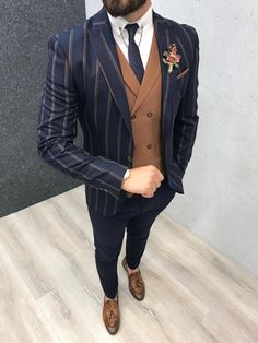 Marc Navy Striped Suit with Brown Vest – brabion Mens Tailored Suits, Mens Casual Suits, Slim Suit, Mens Fashion Suits, Fashion Pants, Mens Suits, Dress Suits For Men, Blazer Outfits Men, Formal Men Outfit