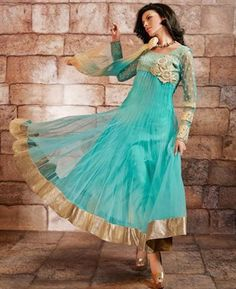 Buy Flamboyant Teal Blue Readymade Salwar Kameez [ADF35056] at $151.13