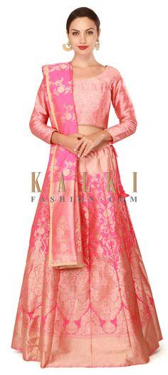 Buy Now Pink lehenga enahcned in brocade silk only on Kalki