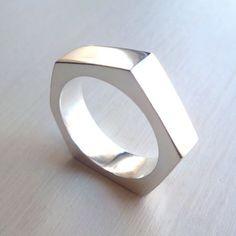 Industrial Nut Ring - Size 8 - Sterling Silver - Industrial Chic - Modern Design - Asymmetrical - Handmade - Urban- Mens -Unisex - Nut Ring