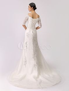 2015 Vintage Inspired Off the Shoulder Mermaid Lace Wedding Gown - Milanoo.com#m933346