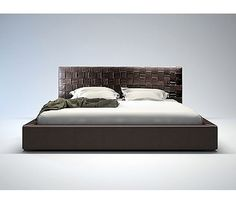 This bed is elegantly designed with a complex woven leather headboard contrasted with a simple leather frame. The bonded leather headboard is handwoven. Leather Platform Bed, Platform Beds, Bedroom Furniture, Home Furniture, Plum Bedding, Bed And Beyond, Headboard Decor, Leather Headboard, Headboards For Beds