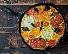 heirloom tomato & basil frittata. Could make without cheese to make it paleo.