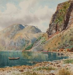 Frederick R. Fitzgerald, 19 / 20th Century British School- Norwegian fjord: signed bottom right and inscribed on backboard watercolour heightened with white 35 x 34.5cm