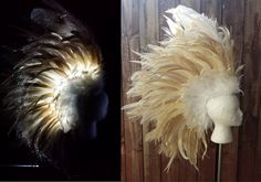 LED and Fiber Optic Feather Mohawk in White and by FirebirdLeather