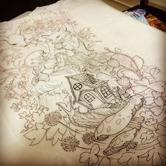 Starting a new sleeve today. #whimsical #woodlandteaparty #snail #fox #deer…