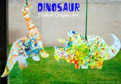 Dinosaur Melted Crayon Art by Crayon Box Chronicles