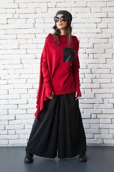 5c16bc746b1 Red Maxi Top Oversize Asymmetric Tunic Fallen Sleeve Top Warm