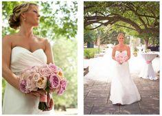 Ann Arbor's Earhart Manor blush and peach garden rose bridal bouquet