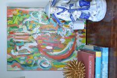 Abstract acrylic on canvas. Amanda Leffel - AL Flair #abstract #acrylic #alflair #amandaleffel #amandaleffelalflair #bamboo #urchin #gold #chinoiserie