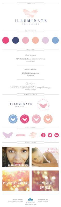 Illuminate Skin Clinics brand board and logo design by Ditto Creative - Brand Stylists in Sevenoaks, Kent