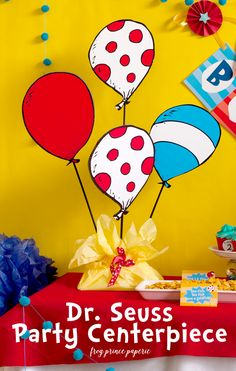 Seuss Party Centerpiece DIY tutorial that is lightning quick to make! Seuss Party Centerpiece DIY tutorial that is lightning quick to make! 2 Birthday, Dr Seuss Birthday Party, First Birthday Parties, Birthday Ideas, Birthday Board, Dr Seuss Graduation Party, Kindergarten Graduation, Birthday Games, Husband Birthday
