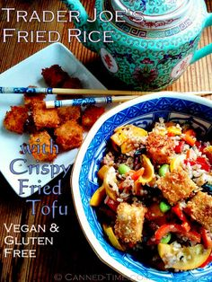 Trader Joe's Fried Rice, Fresh Veggies, Salad & Trader Joe's Orange ChickenLess instead of the tofu Note from Brenda: This is an easy and delicious meal to pull together quickly. It's big hit at our house. Vegan Vegetarian, Vegetarian Recipes, Vegan Food, Healthy Recipes, Healthy Food, Veggie Fries, Vegan Main Dishes, Edible Food, Trader Joe's