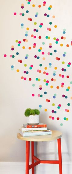 Rainbow Tiny Dots Wall Decal by TheLovelyWall on Etsy, $50.00. Could select certain colors, loosely spaced, and use it for headboard