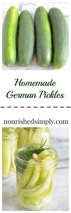 Ronny is telling you:'Homemade German pickles are different then traditional pickles you purchase from the store, but even better. I made them this summer to use up my cucumber crop. Austrian Recipes, German Recipes, Canning Pickles, Healthy Snacks, Healthy Recipes, Cucumber Recipes, Cucumber Salad, Homemade Pickles, Spicy Pickles