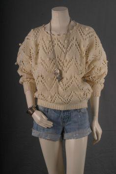 Sweater Blouse Top knit Tunic Crochet Cream Bohemian by sparrowlyn, $36.00
