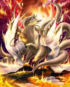 Kitsune_legend (it looks like Ninetails from Pokémon) Pokemon Fan Art, O Pokemon, Pokemon Memes, Pokemon Ninetales, Mystical Animals, Mythical Creatures Art, Pokemon Legal, Photo Pokémon, Anime Wolf