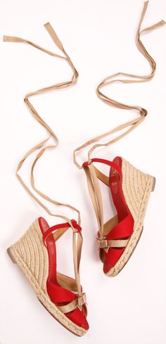 Christian Louboutin Red Canvas Isabelle Espadrilles