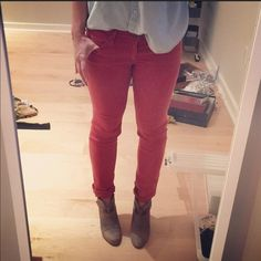 AG Stevie Ankle slim straight denim - red size 27 AG's classic cigarette fit - slim straight in an ankle length great for wearing with kicks and I cuff them for flats or booties. Color best represented by last 2 photos. AG Adriano Goldschmied Jeans Ankle & Cropped