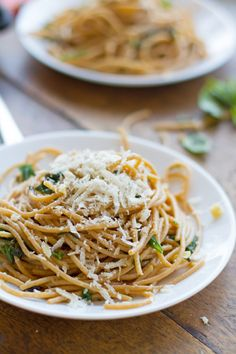 Garlic Butter Spaghetti With Herbs & Baby Spinach - simple #recipe that's no doubt every bit as good as it looks!  #pasta