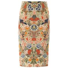 ALEXANDER MCQUEEN Floral-print silk-cotton skirt (765 CAD) ❤ liked on Polyvore featuring skirts, bottoms, multi, brown skirt, cotton knee length skirt, alexander mcqueen skirt, brown cotton skirt and silk skirt