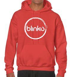 Sudadera con capucha, para hombre : Color paprika, diseño Blinku 2 serigrafiado en tinta white
