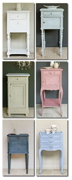 Vintage Furniture vintage style end tables/night stands are my favorite Annie Sloan Painted Furniture Annie Sloan Painted Furniture, Annie Sloan Paints, Chalk Paint Furniture, Furniture Projects, Furniture Making, Diy Furniture, Bedroom Furniture, Furniture Stores, Laminate Furniture