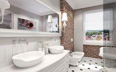 Elegancka aranżacja łazienki w bieli mocno wyróżnia się dzięki zastosowaniu czerwonych cegieł na fragmentach ścian....