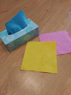 caja de bayetas. actividad para bebes y educacion infantil