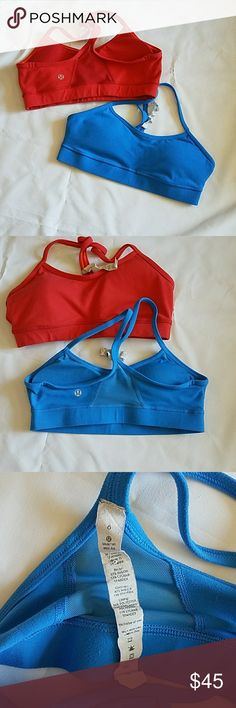 Lululemon Flow Y Bra IV  bundle Size 6. Colors: Kayak Blue and Boom Juice(coral pink color). The blue one is in prefect condition, the Boom Juice was worn most so has some pilling. Price reflected on this. BUNDLE includes both bras. lululemon athletica Intimates & Sleepwear Bras