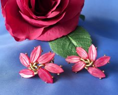Crown Trifari Signed Vintage Pink and Gold Tone FLower Clip Earrings, Pink Lucite Crown Trifari Earrings, Crown Trifari Clip Earrings by MACJewelryDesign on Etsy