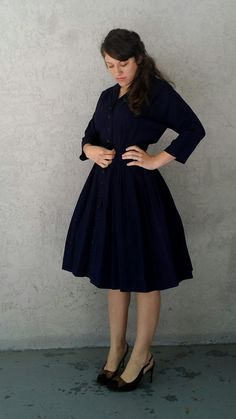 Vintage 1940s 40s WWII Era Navy Button-up Full Pleated Three Quarter Sleeve Dress / Small on Etsy, $98.00