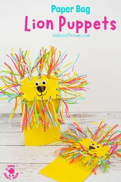 Make adorable Paper Bag Lion Puppets They re super easy and great for imaginative play This lion craft idea is great for kids big and small Pop your hand in and play play play Paper bag puppets are such fun to make and play with Animal Crafts For Kids, Easy Crafts For Kids, Projects For Kids, Fun Crafts, Art For Kids, Art Projects, Simple Crafts, Kid Art, Lion Craft