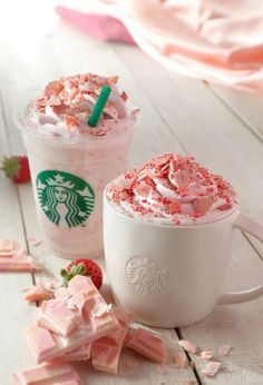 starbucks, pink, and strawberry image