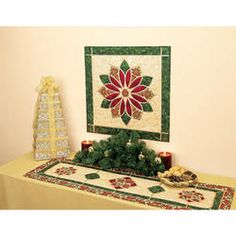 Poinsettia Wall Hanging and Table Runner Set