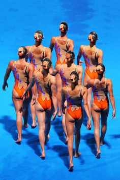 Italy compete during the Synchronized Swimming Team Free Final on day seven of the 15th FINA World Championships at Palau Sant Jordi on July 26, 2013 in Barcelona, Spain.
