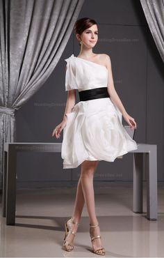 Lovely One Shoulder Flowered Short Dress